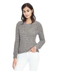 Banana Republic | Gray Metallic Leaf Cable Knit Pullover | Lyst