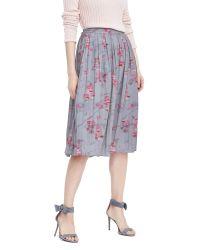 Banana Republic | Gray Ikat Pleated Midi Skirt | Lyst