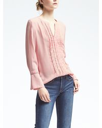 Banana Republic   Pink Easy Care Pintuck Lace Blouse   Lyst