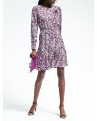 Banana Republic | Purple Print Asymmetrical Pleat Dress | Lyst