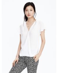 Banana Republic - White Pleated Shoulder Wrap-front Top - Lyst