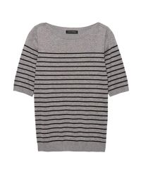 Lyst - Banana Republic Stretch-cotton Boat-neck Sweater in Gray 20b341292