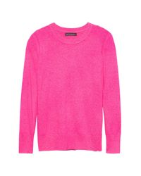 Banana Republic - Pink Italian Merino-blend Crew-neck Sweater - Lyst