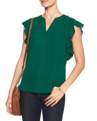 Banana Republic Factory - Green Ruffle-sleeve Dolman Top - Lyst