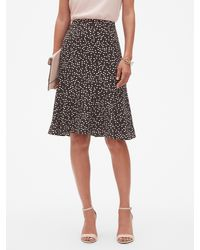 33f9212b32 Lyst - Banana Republic Factory Dot Print Flounce Hem Skirt in Black