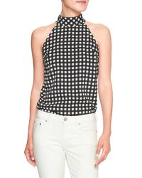 7038220ce6153 Lyst - Banana Republic Factory Print Bow Neck Halter Top in Black