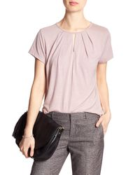 Banana Republic Factory - Pink Pleated Keyhole Top - Lyst