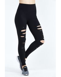 Alo Yoga - Black Ripped Warrior Legging - Lyst