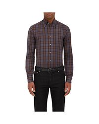 Isaia - Brown Plaid Cotton Twill Shirt for Men - Lyst