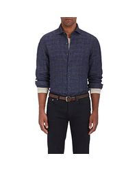 Barneys New York - Blue Checked Linen Shirt for Men - Lyst