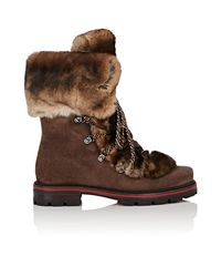 Christian Louboutin - Brown Snow Black Flat Suede Boots - Lyst