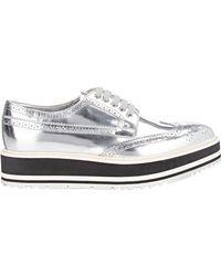 Prada - White Wingtip Brogue Platform Sneakers - Lyst