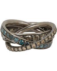 Roberto Marroni | Metallic Multi Diamond & Oxidized White Gold Triple Ring | Lyst