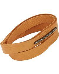 Feathered Soul | Brown Pavé Diamond & Leather Alignment Bar Wrap Bracelet | Lyst