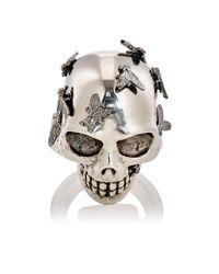 Alexander McQueen - Metallic Fly Skull Ring for Men - Lyst