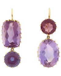 Renee Lewis | Metallic Amethyst & Gold Mismatched Drop Earrings Size Os | Lyst