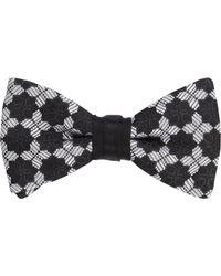 Duchamp - Black Medallion Silk Jacquard Bow Tie for Men - Lyst