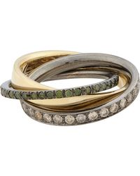 Roberto Marroni | Metallic Mixed Diamond, Yellow Gold & Oxidized White Gold Triple Ring | Lyst