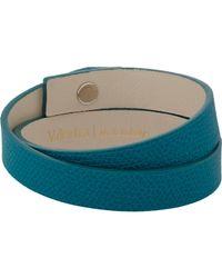Valextra - Blue Leather Wrap Bracelet for Men - Lyst