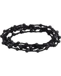 Feathered Soul | Black Agate Bead & Braided Silk Wrap Bracelet for Men | Lyst