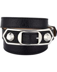 Balenciaga   Black Metallic Edge Double Tour Wrap Bracelet   Lyst