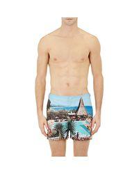 Orlebar Brown - Blue Men's Pool-print Setter Swim Trunks for Men - Lyst