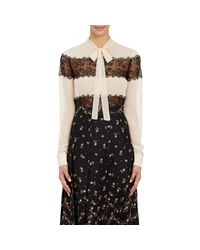 Philosophy Di Lorenzo Serafini - Brown Chiffon & Lace Blouse - Lyst