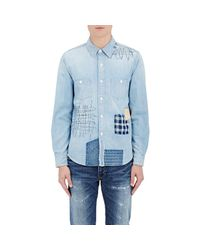 FDMTL - Blue Patchwork Chambray Shirt for Men - Lyst