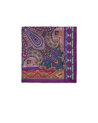 Etro - Purple Paisley & Geometric-print Silk Twill Pocket Square for Men - Lyst