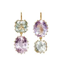 Renee Lewis - Purple Purposely Mismatched Double-drop Earrings - Lyst