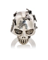 Alexander McQueen | Metallic Fly Skull Ring for Men | Lyst