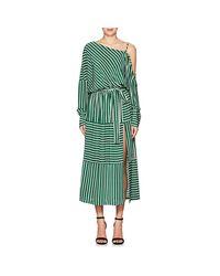 Robert Rodriguez   Green Striped Silk Cold-shoulder Midi   Lyst