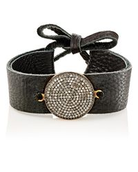 Feathered Soul - Black Diamond & Leather Bracelet - Lyst
