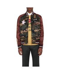 Valentino - Green Souvenir Star-appliquéd Satin Bomber Jacket for Men - Lyst