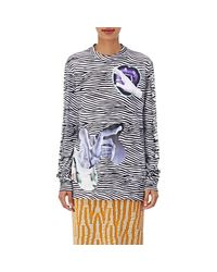 Proenza Schouler | Blue Cotton Striped & Graphic Long-sleeve T | Lyst