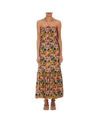 Warm Multicolor Jimmy Cotton Halter Maxi Dress
