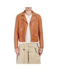Loewe | Brown Leather Moto Jacket for Men | Lyst