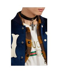 Gucci - Black Lion & Cross Leather Choker for Men - Lyst