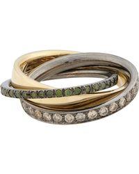Roberto Marroni - Metallic Mixed Diamond, Yellow Gold & Oxidized White Gold Triple Ring - Lyst