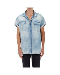 R13 - Blue Denim Cutoff Shirt for Men - Lyst