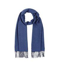 Barneys New York | Blue Fringed Herringbone Wool Scarf | Lyst