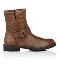 Barneys New York - Brown Washed Leather Moto Boots for Men - Lyst