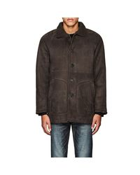 Barneys New York - Gray Suede & Shearling Car Coat for Men - Lyst
