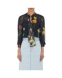 Warm - Black Floral Tieneck Blouse - Lyst
