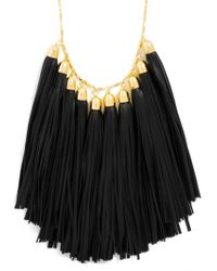 BaubleBar | Black Long Leather Tassel Bib | Lyst