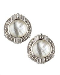 Judith Ripka - White Vintage Mother-Of-Pearl Doublet Button Earrings - Lyst
