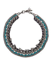 John & Pearl - Blue Laetitia Swarovski Hematite Gunmetal Necklace - Lyst