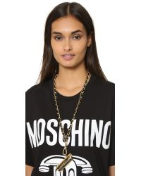 Moschino - Black Lighter Necklace - Gold - Lyst