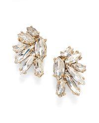 Marchesa - Metallic Crystal Cluster Stud Earrings - Lyst