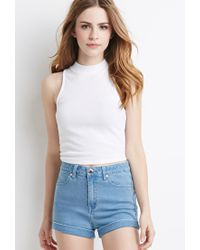 Forever 21 | Blue Mid-rise Denim Shorts | Lyst